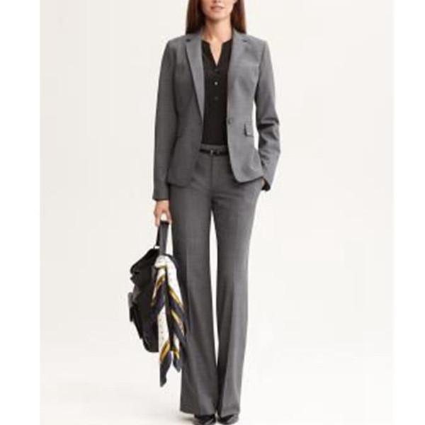 Custom cinza escuro senhoras escritório de negócios vestido formal macacão terno (casaco + calça) moda casual terno das mulheres