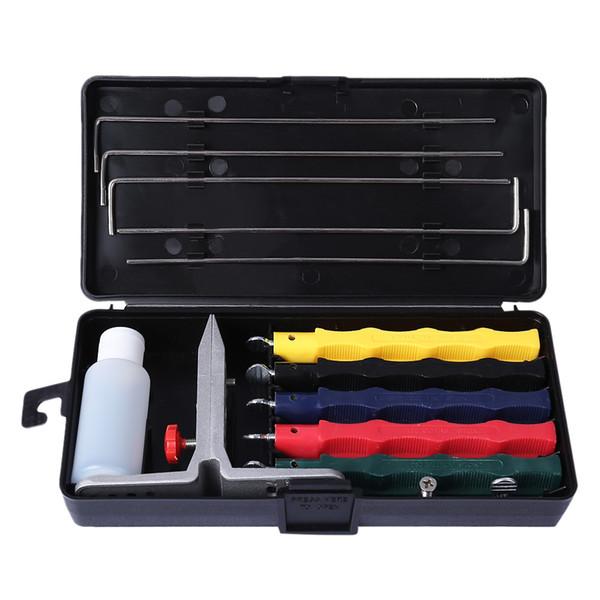 Afilador profesional de cuchillos Kit de afilado de piedra de 5 piedras Sistema de afilado Herramienta de cocina de muela de afilado Afilador de cuchillos multi-herramientas