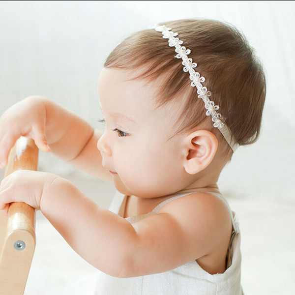 Baby Girls headbands Headwear Princess Lace Flowers Diamond Pearl Headbands Elastic Hairbands newborn photography props