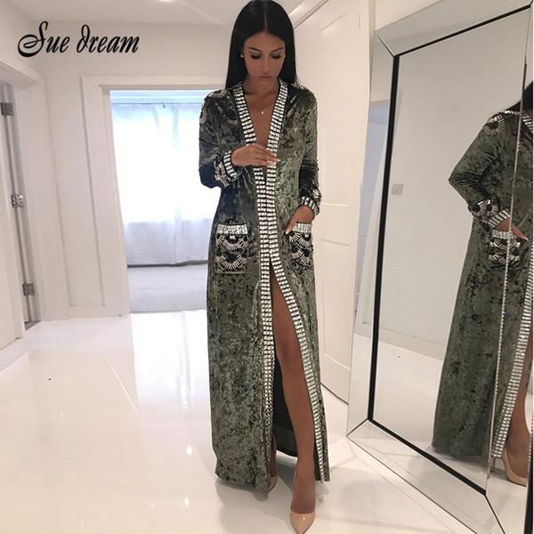 2017 neue frauen mode mantel grau braun schwarz langarm perlen lange stil mantel frauen lange staubtuch mantel mode jacke vestidos d1892904