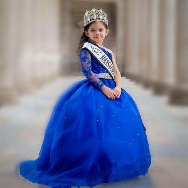 Royal Blue Princess Wedding Flower Girl Dresses Puffy Tutu Off Shoulder Sparkly Crystals 2019 Toddler Little Girls Pageant Communion Dress