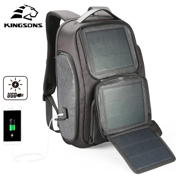 Kingsons Upgraded Solar Backpack Fast USB Charging Knapsack 15.6 inches Laptop Backpacks Men Women Travel Bag Male Cool Mochila