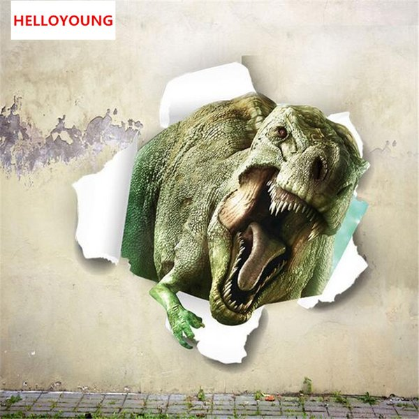 Stereoscopic 3D through walls dinosaur muurstickers for kids rooms Bedroom home decor Children's room Stickers