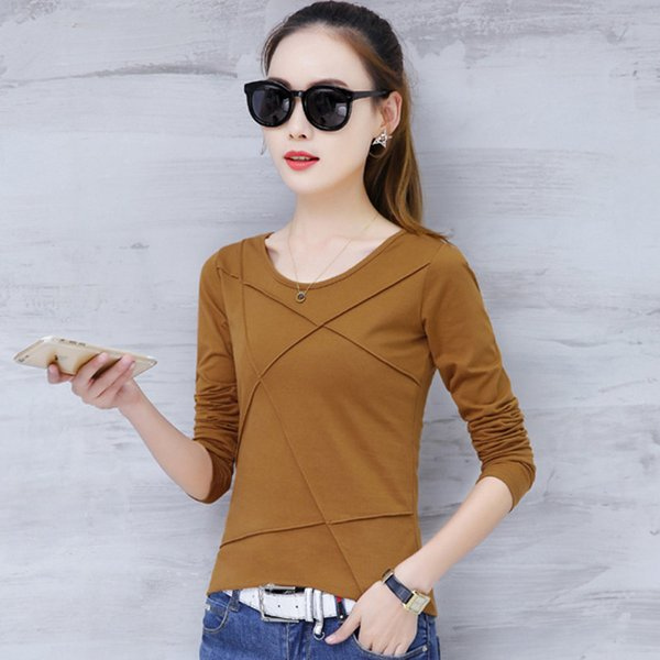 Plus Size Tshirt Women T-shirt Tee Tops Femme Autumn Long Sleeve T-shirts For Women 2019 Casual Cotton Tops Tees Camisetas Mujer