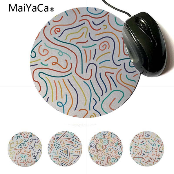 Yinuoda 2018 New Hand Drawn Doodle Lines DIY Design Pattern Game Lockedge mousepad 200x200mm 220x220mm Round Mouse Pad