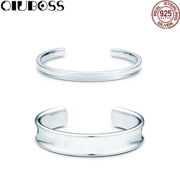 QIUBOSS 1837 Bracelet en argent sterling 925 Couple d'ouverture TiffanyBracelet Concevoir des cadeaux pour les femmes