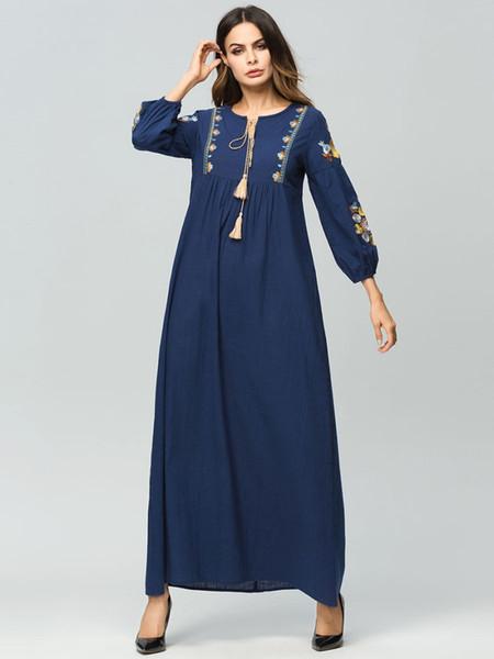 Vestido de primavera y otoño bordado de algodón y lino costuras de túnica de manga larga vestido más el tamaño M-2XL