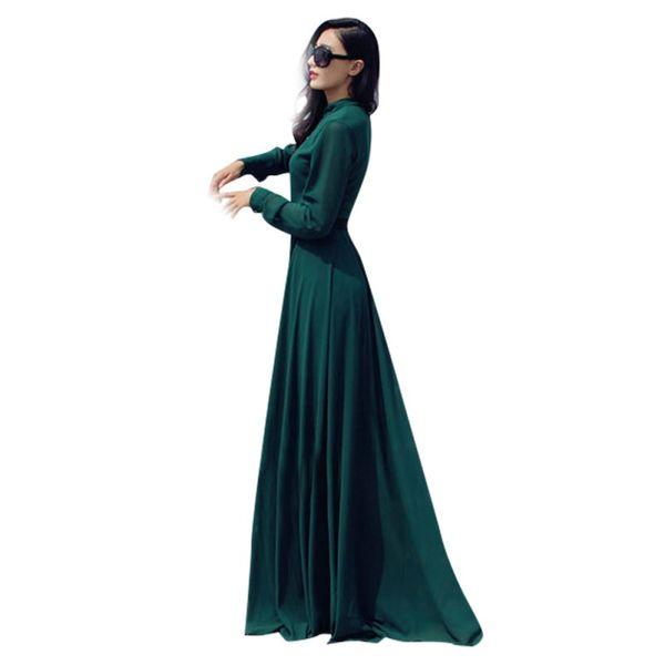 2018 Lady Sexy Chiffon Long Dress Evening Party Long Sleeve Festival Maxi Dress H32