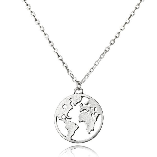 Wholesale 2018 new world map pendant necklaces earth day wanderlust 2018 new world map pendant necklaces earth day wanderlust personalized jewelry outdoor metal fashion necklace gift aloadofball Gallery