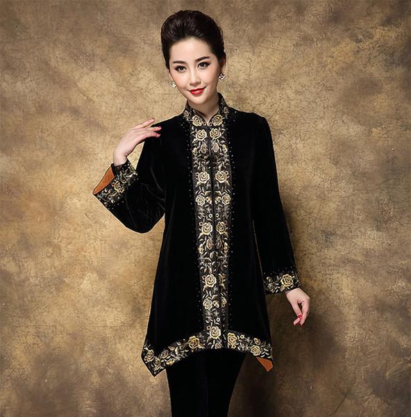 Chaqueta de terciopelo de seda de las mujeres chinas de alta calidad abrigo de la flor del bordado de la vendimia primavera prendas de vestir exteriores más tamaño 3XL 4XL MD018