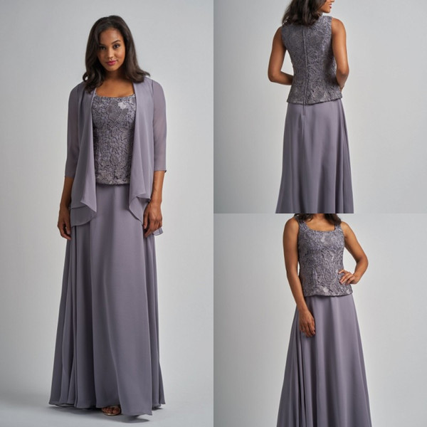 Elegant Mother Of The Bride Dresses With Jacket Lace Chiffon Long Sleeves Three Pieces Plus Size Mother's Dress Evening Gowns For Weddings
