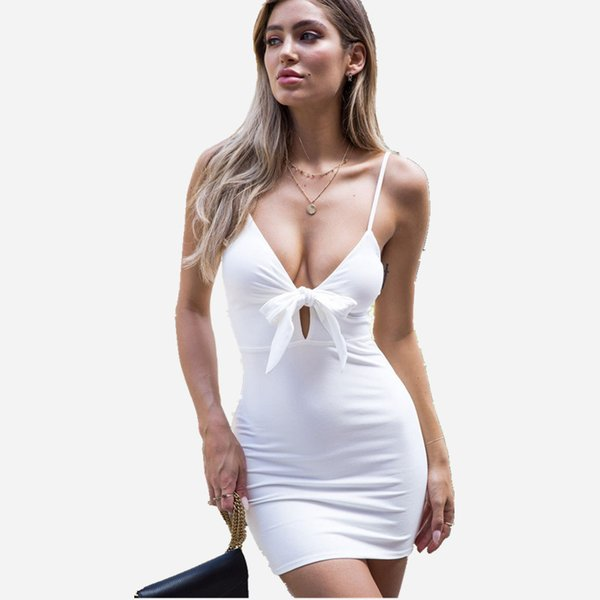 Wholesale Free Shipping Women Summer Casual Strapless Sexy Deep V Neck Sleeeveless Bodycon Mini Party Dress