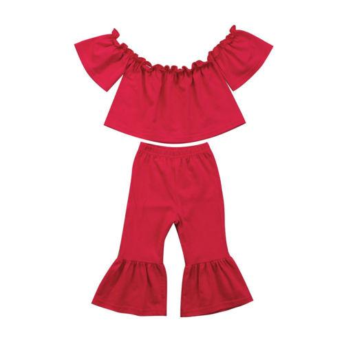Stock Toddler Girl Off Shoulder Clothes Bell-Bottom Trousers Casual Outfits