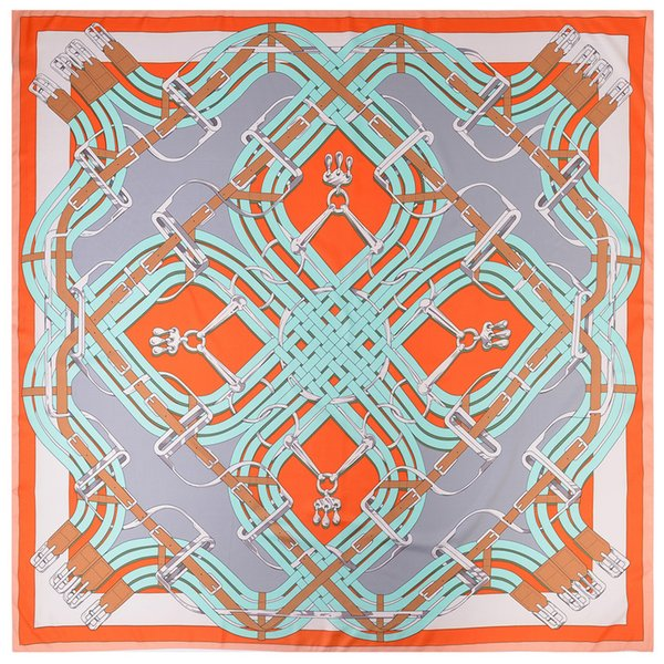 Womens Joker Square Print Silk Shawl Womens Foulard Femme Hijabs Twill Vintage Pashmina Shawls