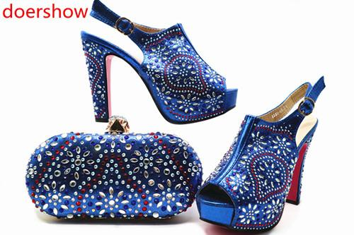 Latest Design Italian Ladies Shoes and Bags To Match Set Decorated with Rhinestone Matching Shoes and Bag Set for Wedding !MQ1-1