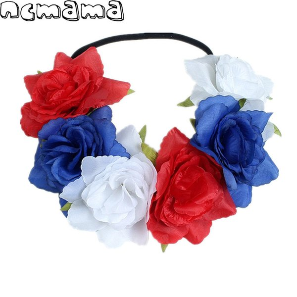 INS Simulation Flower Garland Summer Vacation Baby Girls Headbands Bride Hair Accessories for Women Christmas Party Hairband Elastic Band