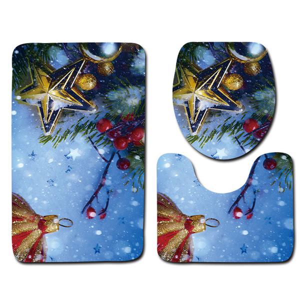 Ecológico Decoración de regalo de Navidad 3 piezas Alfombras de baño Set Absorción de agua Inodoro Alfombras de baño Piso Washabel Productos de baño Kits