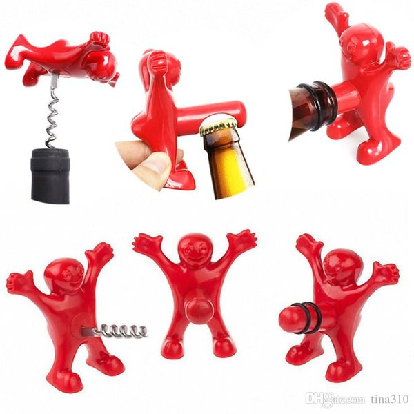 New Kitchen Bar Red Fun Happy Man Bottle Openers Multifunction Wine Openers Bottle Novelty Opener Stopper IC546