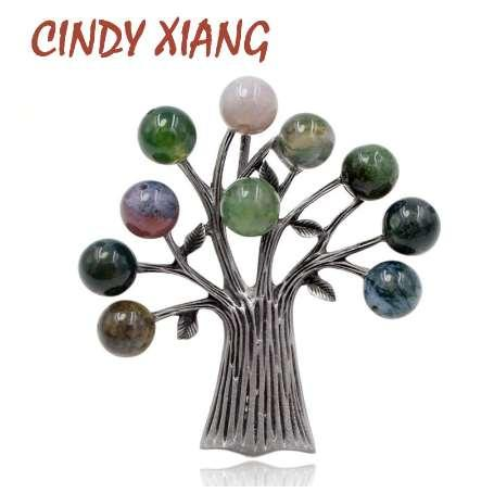 CINDY XIANG Stone Tree Brooches for Women Elegant Vintage Brooch Pin Suit Accessories 3 Colors Choose High Quality New Gift