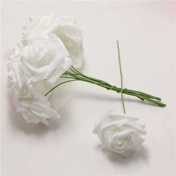 100pcs/pack Marry DIY Crimping Decoration white flower Wedding bride Artificial Bouquet Home Foam Rose Flowers with stem Craft