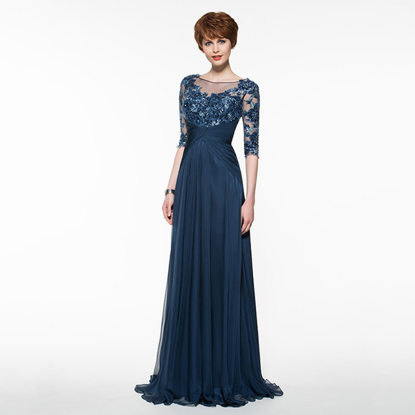 2018 Elegant Navy Long Mother Of The Bride Dress 1/2 Sleeves Beads Lace Chiffon Custom Wedding Party Mother Dress Plus Size