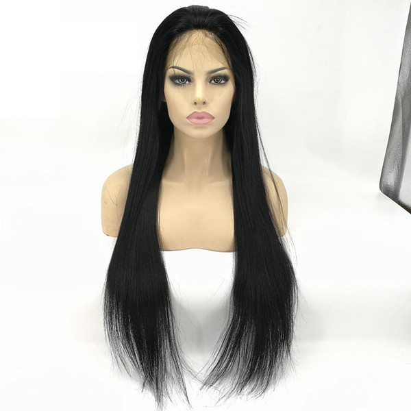 Glueless Lace Front Human Hair Wigs For Black Women Straight Brazilian human Hair Swiss Lace Front wigs 1# jet black 8-26inch