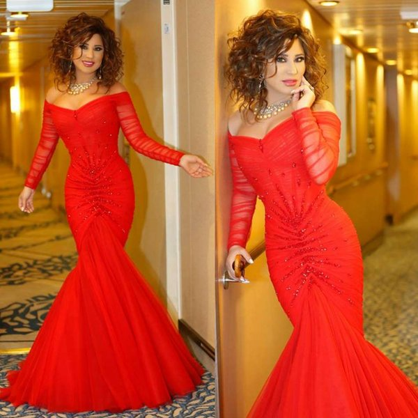 Red Evening Dresses Off Shoulder Sequins Crystal Tulle Floor Length Long Sleeve Prom Dress Luxury Dubai Formal Party Gowns