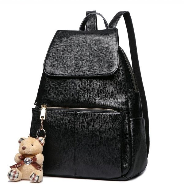 2018 Fashion Genuine Leather Backpack Women Bags Preppy Style Backpack Girls School Bags Zipper Female Leather Backpack