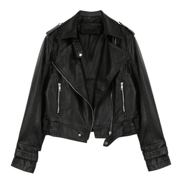 Europe and United Black and Pink XLPu Jacket Coats Lapel Zipper Fashion Casual Motorcycle Jacket Autumn and Winter Short Leather