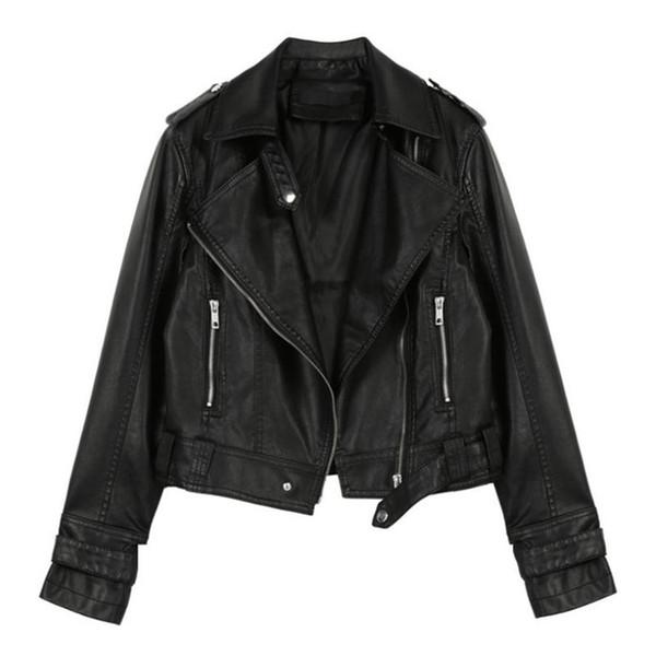 Europe et États-Unis noir et rose XLPu veste manteaux revers fermeture à glissière mode casual moto veste automne et hiver court cuir