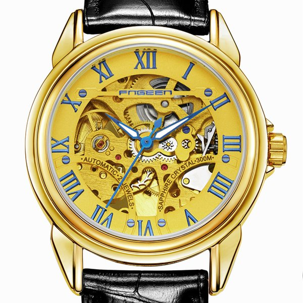 FNGEEN Free Delivery Top Brand Mens Mechanical Watches For Males Watches Luxury Gifts Retro Automatic Skeleton Steampunk Leather Mechanical