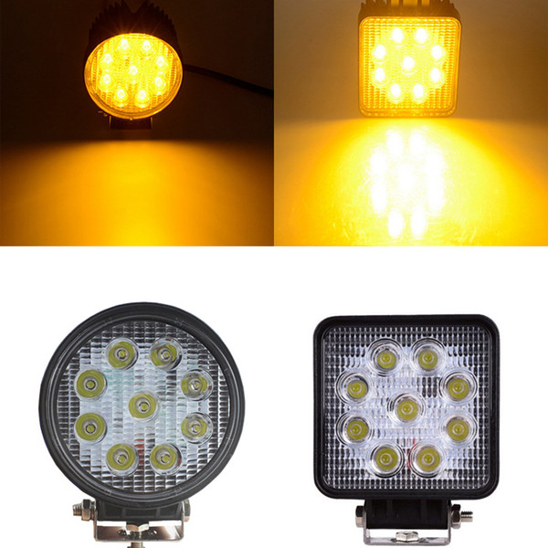 Pampsee 2pcs 4Inch 27W 2000LM 2000K Led Work Light Spot Flood Near Far Working Lamp Yellow Driving Bulb for Tractor Boat Offroad