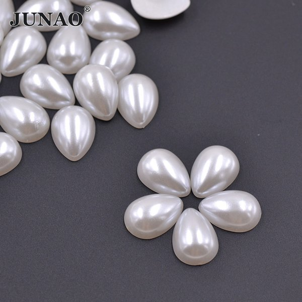 JUNAO 13*18mm Drop Shape White Pearl Beads Flatback ABS Half Round Pearls Non Sewing Scrapbook Beads For Jewelry Clothes Crafts
