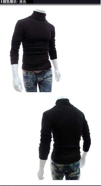 T-shirt de manga longa camisola de lã moda simples gola alta cor lisa camisola casual para homens