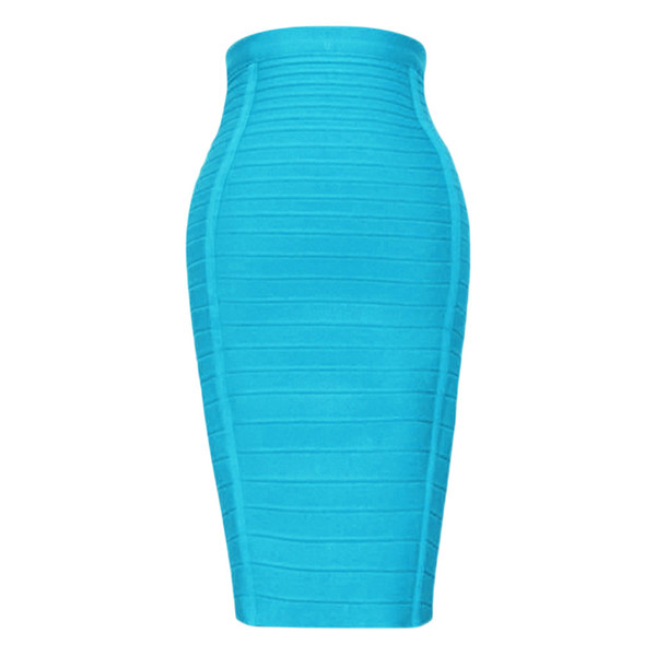 Sexy Light Blue 2018 Women's Newest Style Rayon Knee Length High Waist Bodycon Bandage Pencil Skirt
