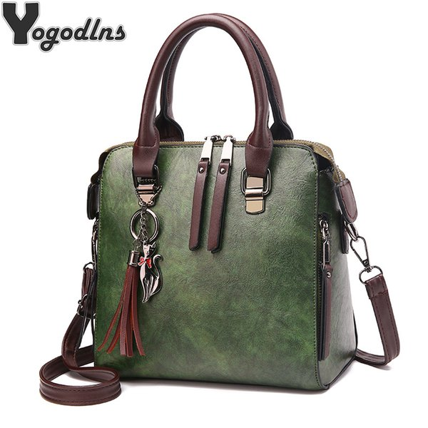 Vintage Leather Ladies HandBags Women Messenger Bags TotesTassel Designer Crossbody Shoulder Bag Boston Hand Bags Hot Sale