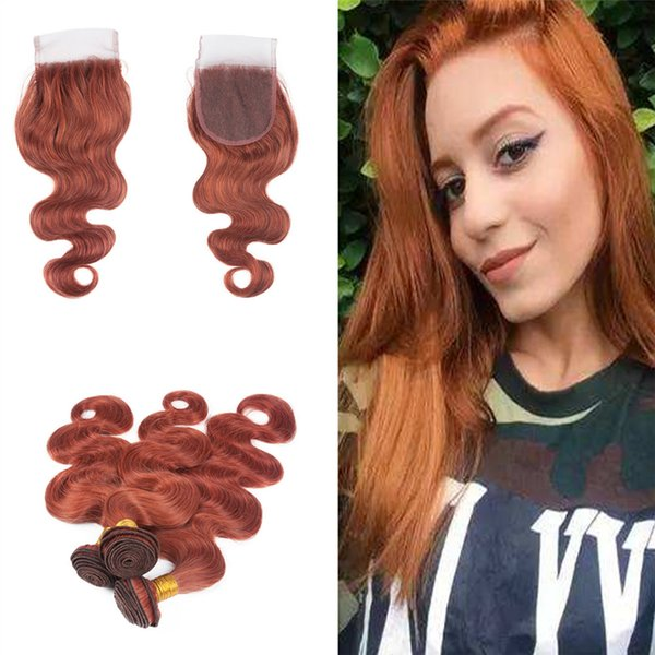 Pure Colored #33 Virgin Hair Extension Weft With Top Closure 4x4 Free Part Dark Auburn Brown Body Wave Hair 3Bundles With Lace Closure