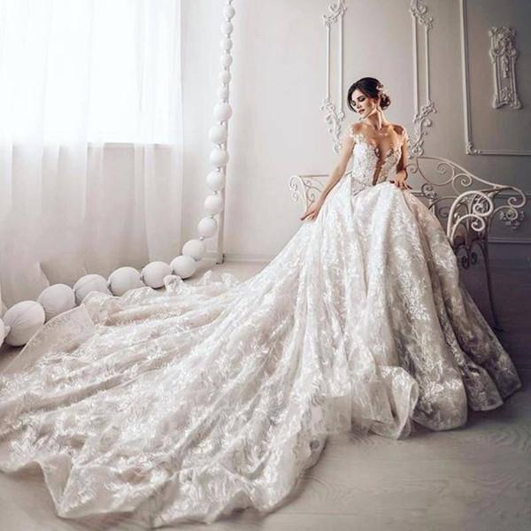 Romantic 2019 A Line Wedding Dresses Jewel Neck Applique Illusion Lace Glamorous Sexy Formal Party Wear Robe De Mariée Bridal Gown
