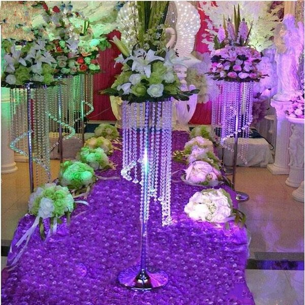 New arrival 1.2M tall Sparkling Crystal clear garland chandelier wedding cake stand birthday party decorations for table top centerpieces