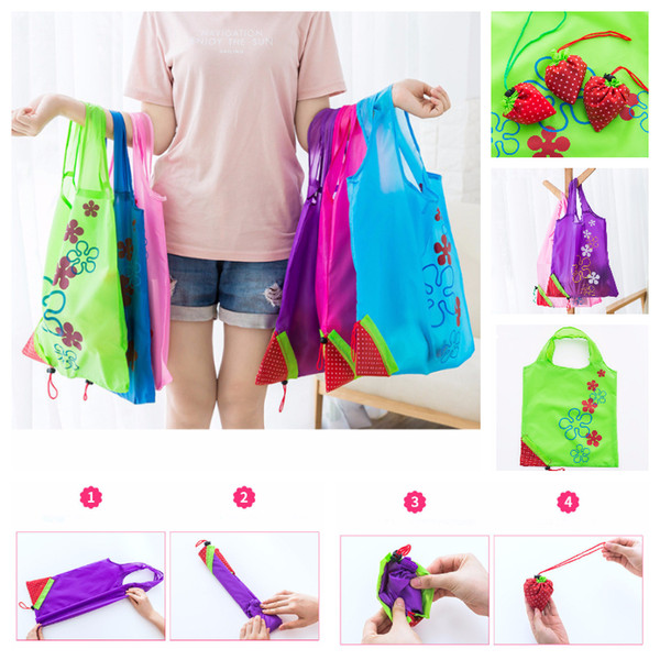 top popular Multicolors Strawberry Foldable Bag Reusable Eco-Friendly Shopping Bags Pouch Storage Handbag Strawberry Foldable Shopping Bags Folding Tote 2021