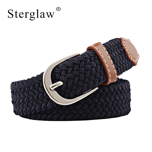 100x2.5cm New black elastic waist belt for women braided belt 2018 casual men belts with student thin Canvas N219