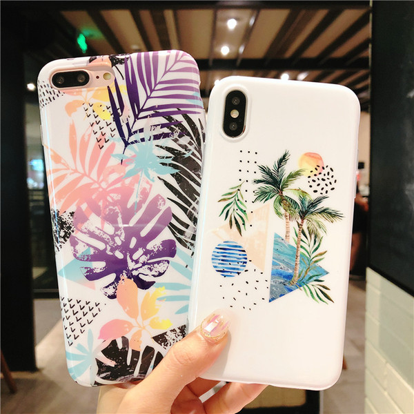 10 Patterns Fashion IMD Marble Case Coconut Tree Pattern Soft TPU Strawberry Style Phone Cases for iPhone X 6 6S 7 8 Plus