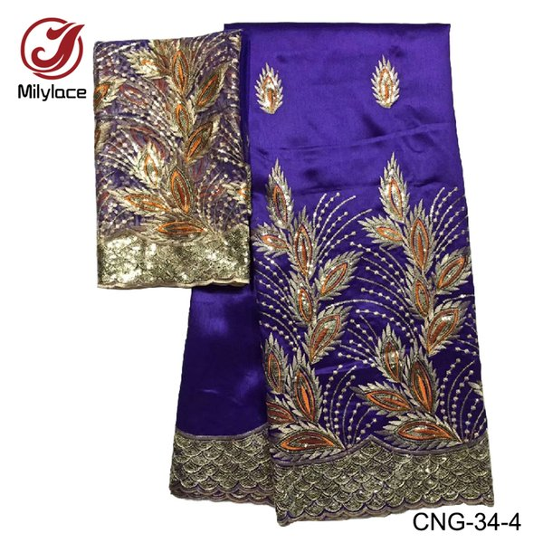Diseño popular tela de encaje africano de george 5 yardas nigerian george lace plus 2 yardas de encaje francés con lentejuelas CNG-34
