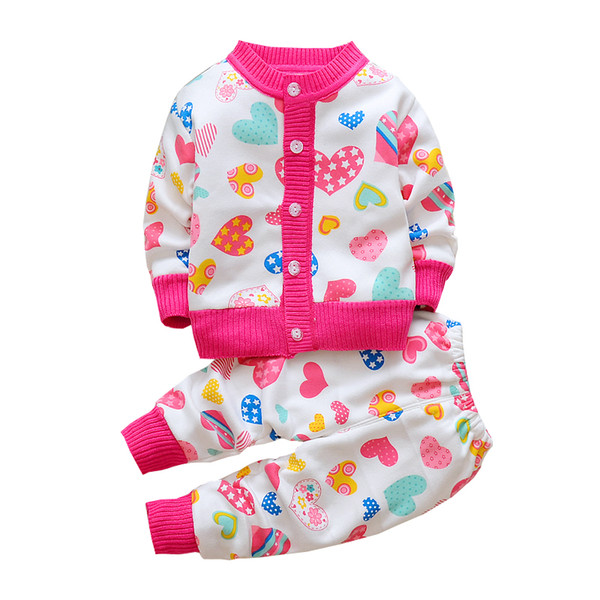 Autumn winter children sweater clothing set baby girls boys cartoon printed warm clothes set kids plus velvet tracksuit