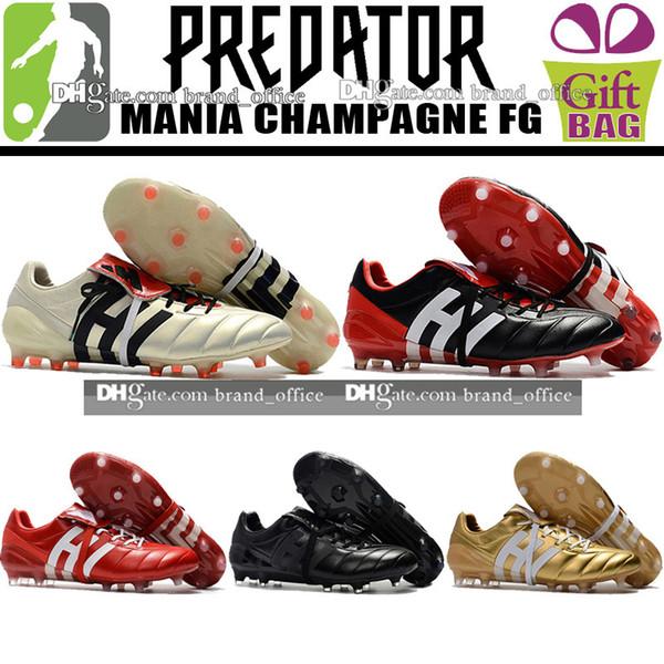 Herren Original Predator Mania Champagne FG Fußballschuhe Leder Fußballschuh Predator Fußballschuhe Fußballschuhe Schwarz Rot Gold 39-46