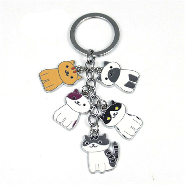 Fashion New Game Neko Atsume Metal Pendant Keychain Charm Cute cat keychain car