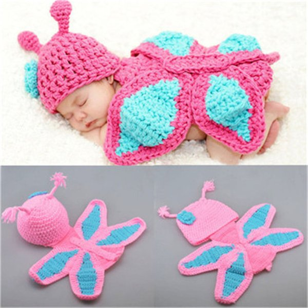 Baby Girls Newborn Photography Props Crochet Knitwear Handmade Butterfly Hats Infant Kids Toddler Christening Costume Outfit