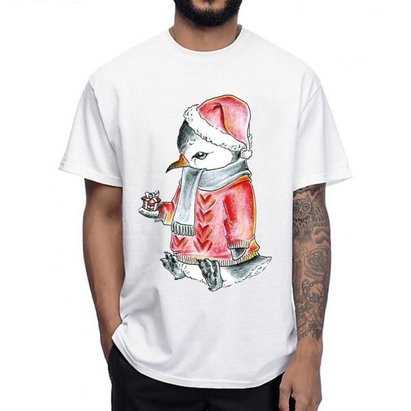 Harajuku hipster serin Noel Penguen baskı T-Shirt adam Tops minimalist rahat erkekler kısa kollu 2017 yeni Noel hediyesi Tee