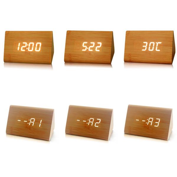 Reloj de triángulo de madera LED creativo, despertador activado por voz inteligente para el hogar de la oficina del dormitorio - Luz blanca
