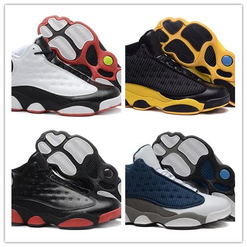 hot sale online bac56 bd0d1 2019 Hot 13s Mens Basketball Shoes Man 13 Black White Blue Yellow Sports  Shoes Sneakers With Box Size 7 13 From Shoesfactoryoffer, $55.72 |  DHgate.Com